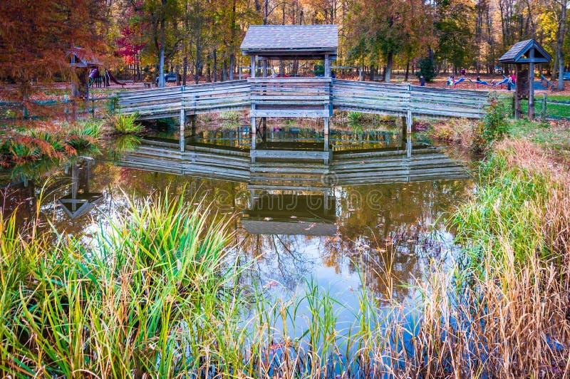 Träbro över det lilla dammet i den Leesylvania delstatsparken, Virgini royaltyfria bilder