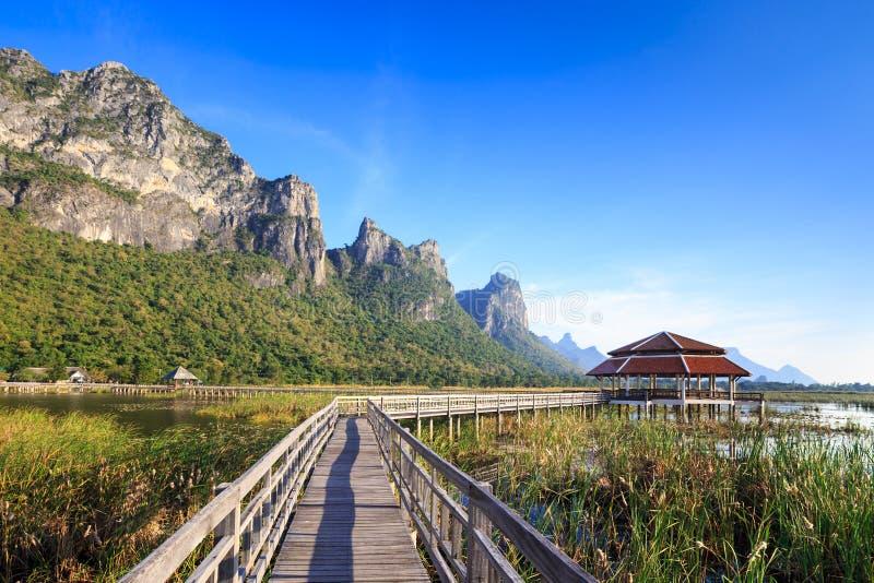 Träbro över en sjö i Sam Roi Yod National Park arkivbild