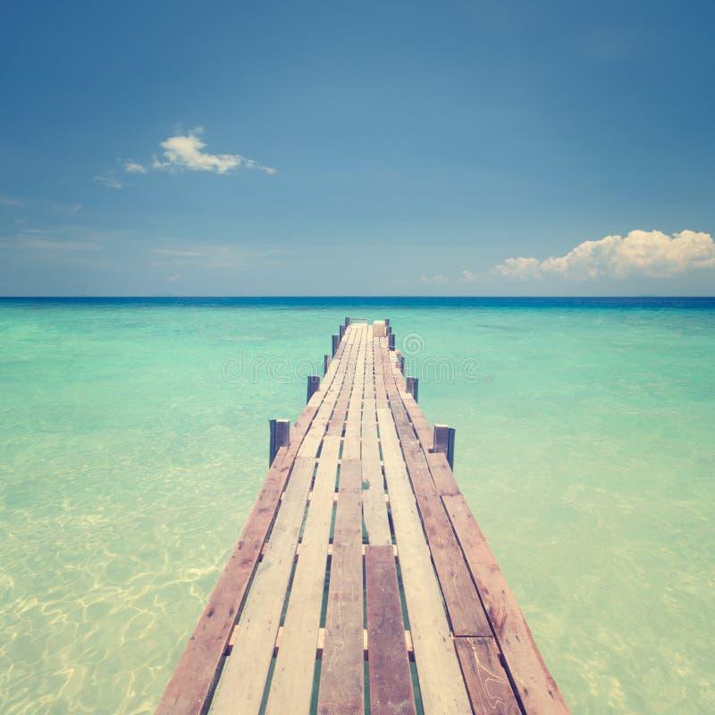 Träbro in mot havet arkivbild