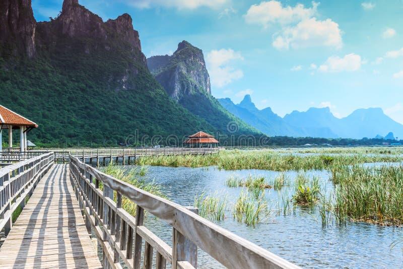 Träbro och sjö i Sam Roi Yod National Park royaltyfri fotografi