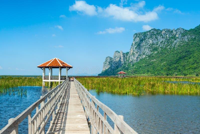 Träbro och sjö i Sam Roi Yod National Park arkivfoto