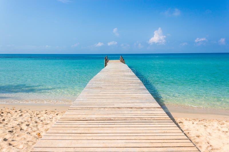 Träbro på den tropiska stranden och den blåa himlen royaltyfria bilder