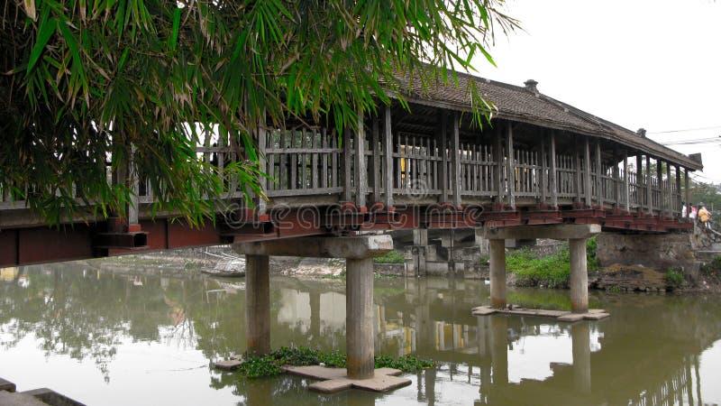 Träbro som överdrar sjöyttersida royaltyfri fotografi