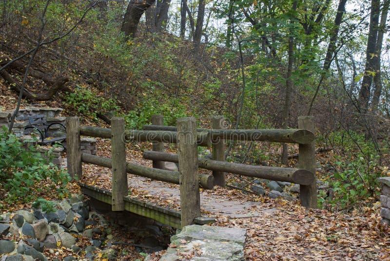 Träbron över torr liten vik i områdessjön parkerar vattenfallet, Milwaukee, Wisconsin, USA royaltyfri fotografi
