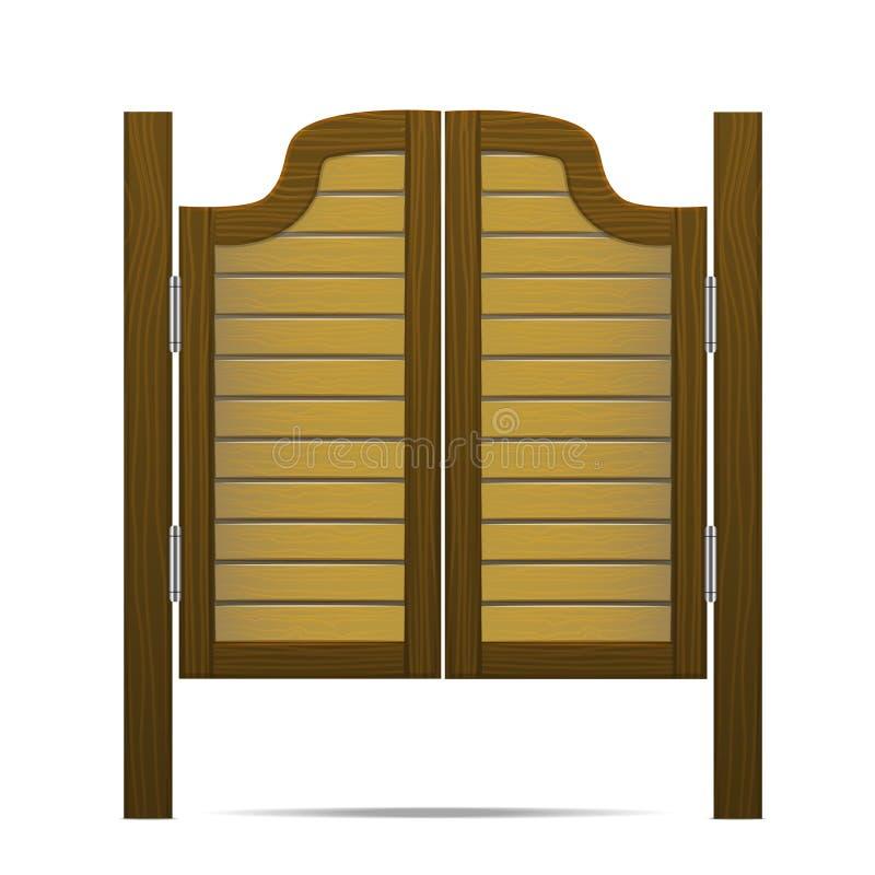Träbrun port eller dörr i salong, stång eller bar vektor vektor illustrationer