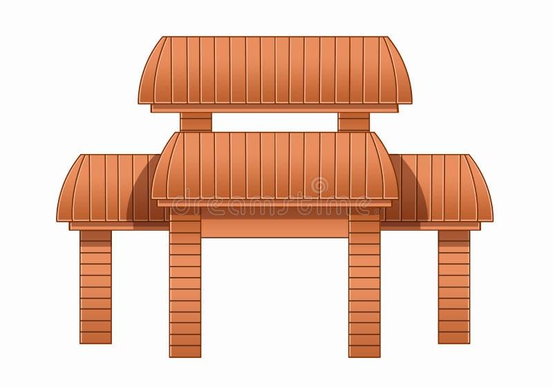 Träbrunt och design för ingångsdörr royaltyfri illustrationer