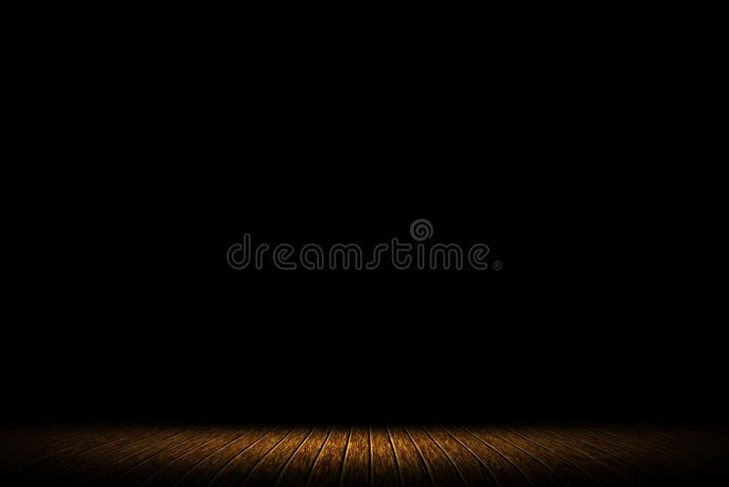 Träbrunt på mörk underhållningbakgrund för etapp royaltyfria bilder