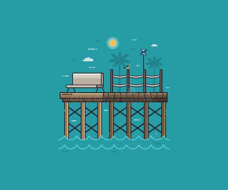 Träbrygga eller havspir på sjösidan royaltyfri illustrationer