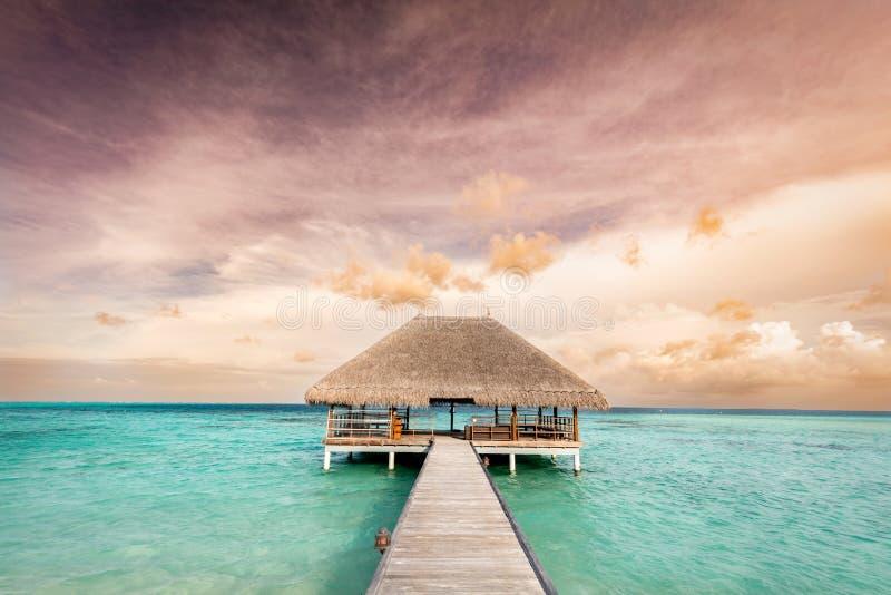 Träbrygga som leder till avkopplinglogen Maldiverna öar på soluppgång royaltyfria bilder