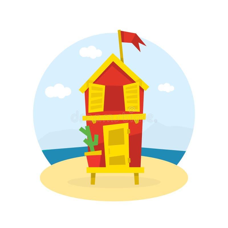 Träbungalow med flaggan på tropisk kust av havet, illustration för sjösidaferievektor vektor illustrationer
