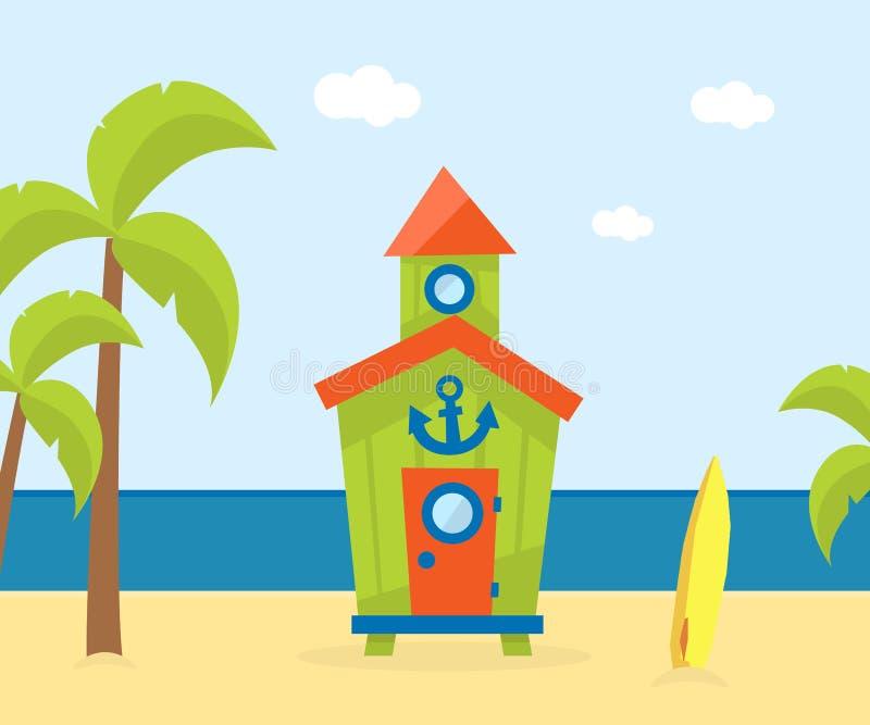 Träbungalow på den tropiska kusten, härligt landskap för havsstrand, illustration för vektor för mall för sjösidaferiebaner royaltyfri illustrationer