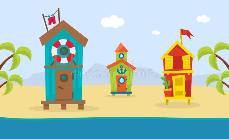 Träbungalower på den tropiska kusten, härligt landskap för havsstrand, illustration för vektor för mall för baner för sommarferie vektor illustrationer