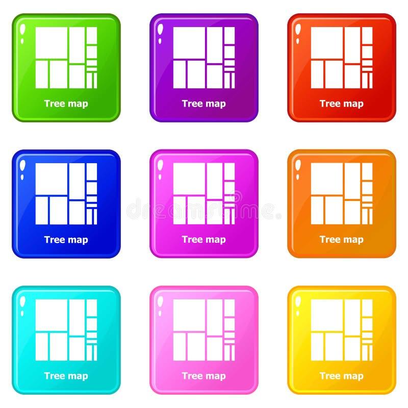 Trädöversiktssymboler ställde in samlingen för 9 färg vektor illustrationer
