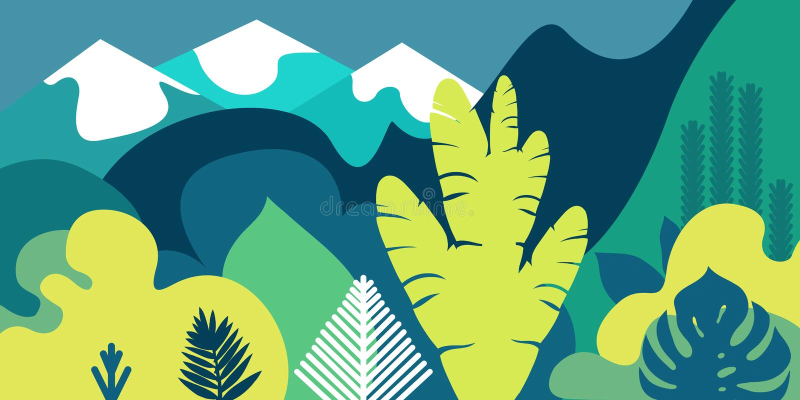 Träd är bred-leaved tropiskt, ormbunkar stora liggandebergberg Plan stil Bevarande av miljön, skogar parkera utomhus- stock illustrationer