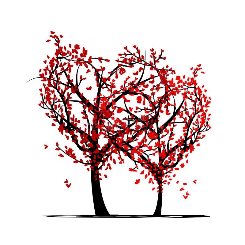Träd av förälskelse för din design vektor illustrationer