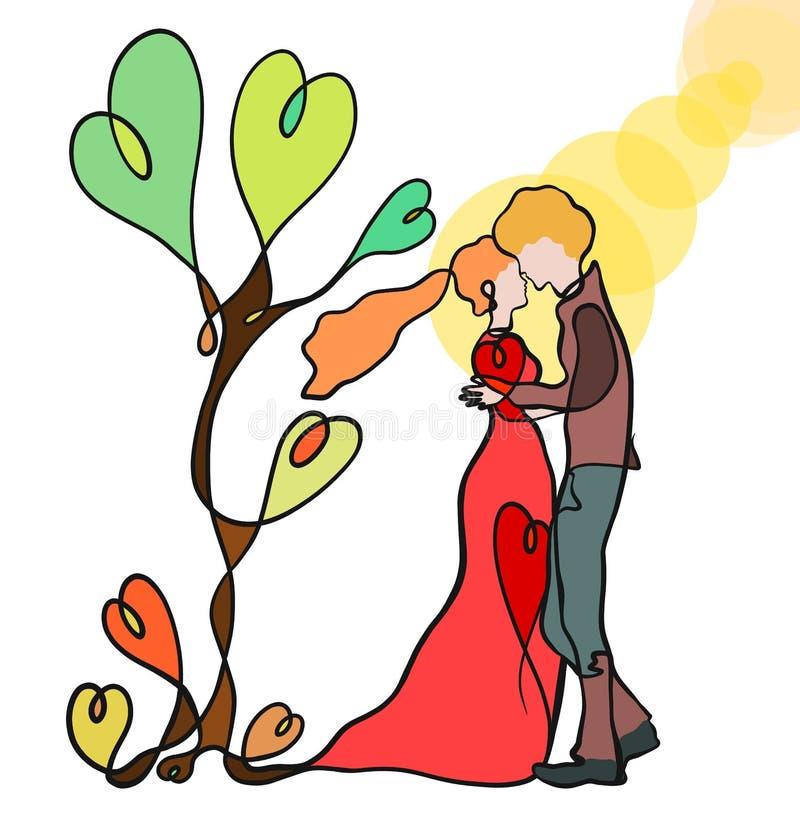 Träd av förälskelse, kyssen av ett förälskat par, solsken och hjärtor, cre vektor illustrationer
