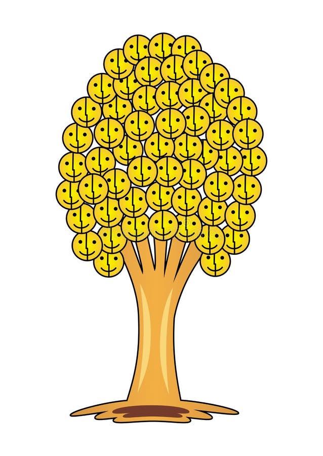 Träd av leenden och glädje Träd med många smileyframsida royaltyfri illustrationer