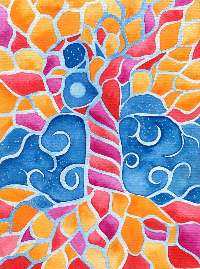 Träd av liv med måne två, original- vattenfärgmålning royaltyfri illustrationer
