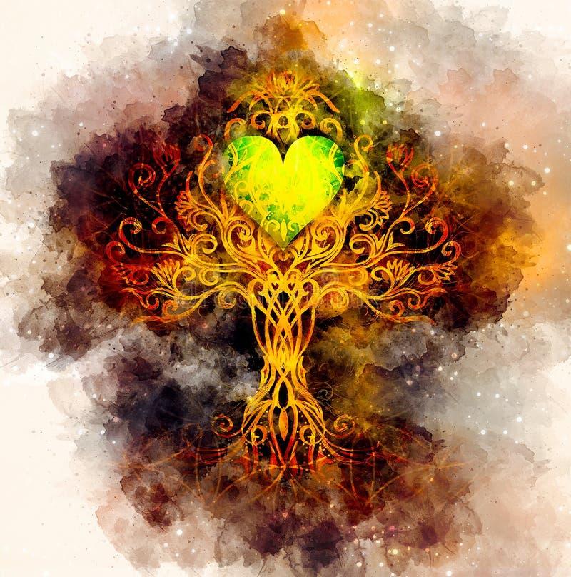 Träd av livsymbolet på strukturerad dekorativ bakgrund med hjärtaform, blomma av livmodellen, yggdrasil royaltyfri illustrationer