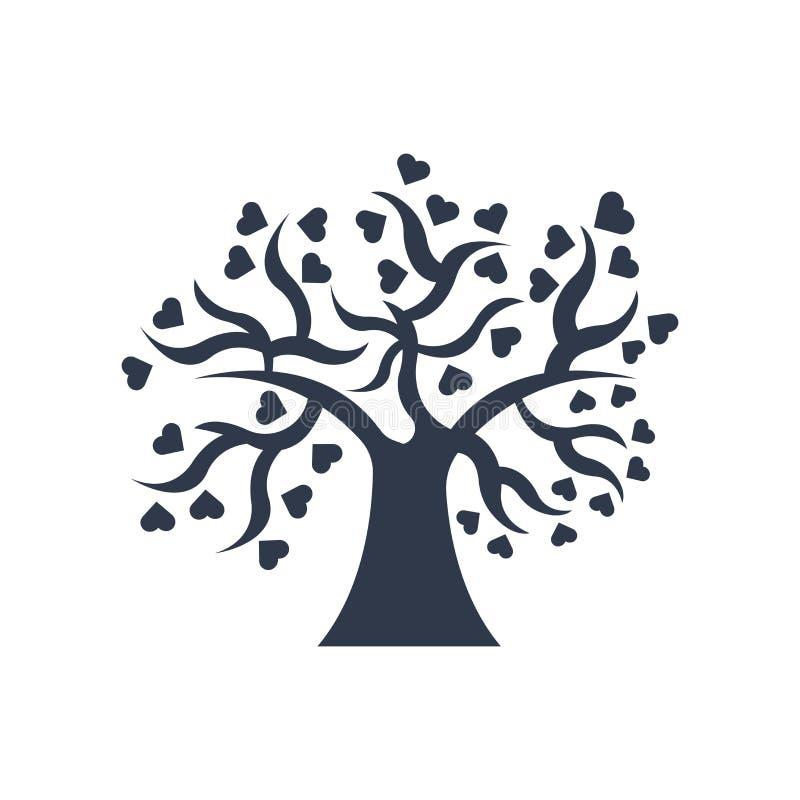Träd av tecknet och symbolet för förälskelsesymbolsvektor som isoleras på vit backg royaltyfri illustrationer