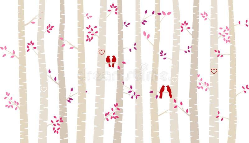 Träd eller Aspen Silhouettes för björk för dag för valentin` s med dvärgpapegojor royaltyfri illustrationer