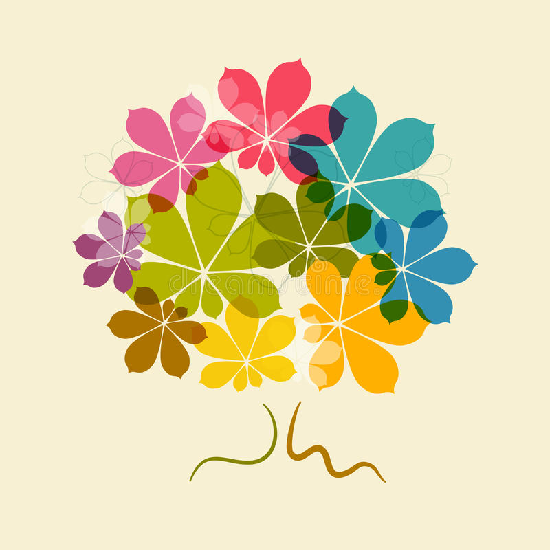 Träd för abstrakt vektor för kastanj färgrikt stock illustrationer