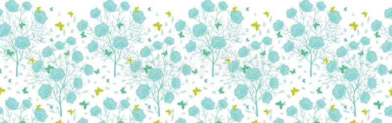 Träd för blå gräsplan för vektor gränsar blommande och bakgrund för modell för flygfjärilshorisontalsömlös repetition Utmärkt för vektor illustrationer