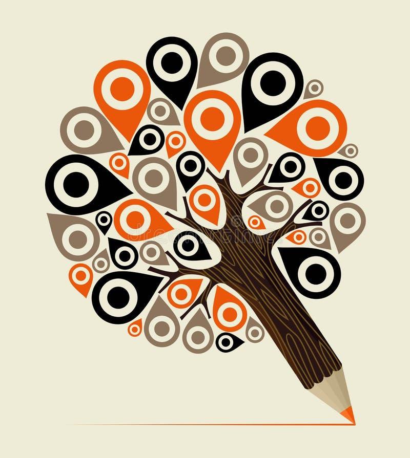 Träd för blyertspenna för Geo lägebegrepp royaltyfri illustrationer