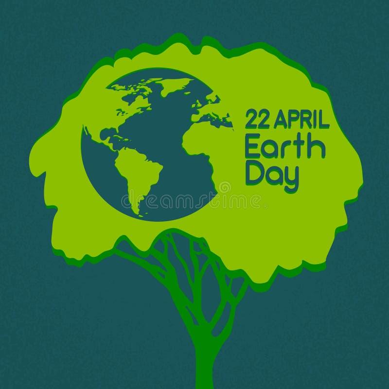 Träd för gräsplan för jorddag med jordklotvärldskonturn vektor illustrationer