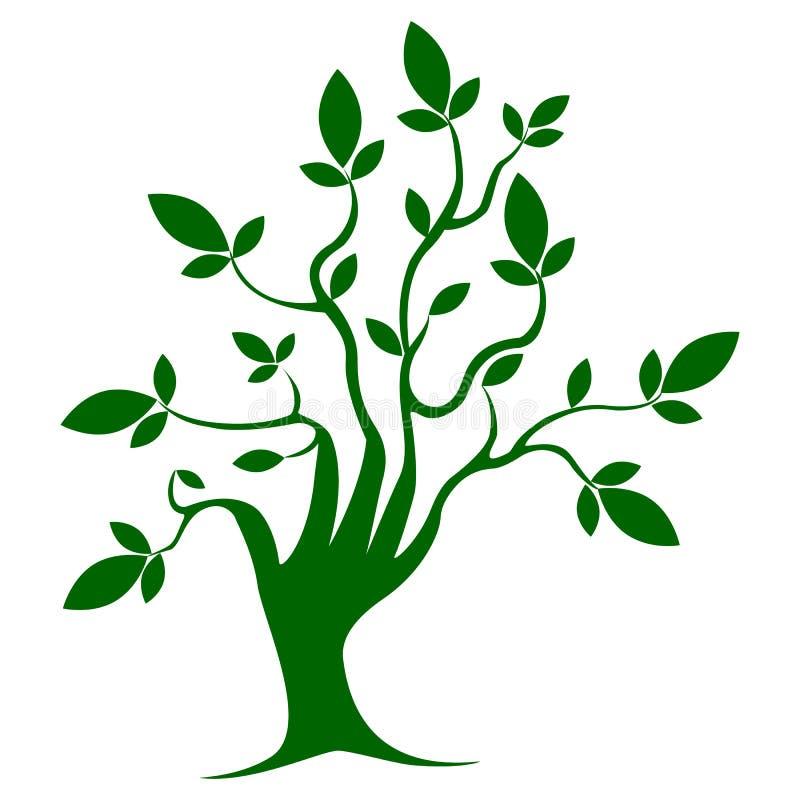 Träd för grön färg, mall, symbol, tillväxt royaltyfri illustrationer