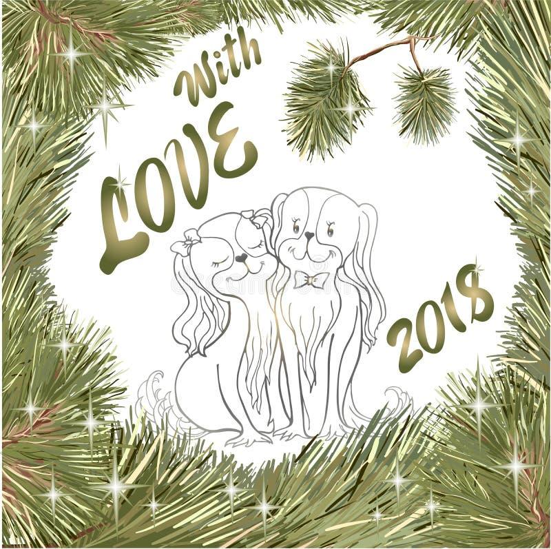 Träd för gran för hund för Cristmas förälskelsespaniel stock illustrationer