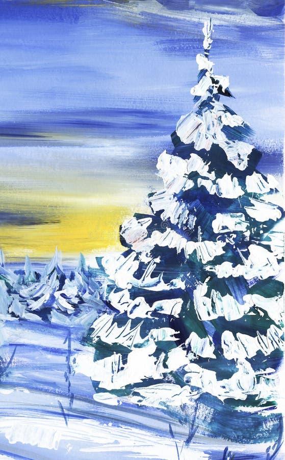 Träd för gran för vinterskog som frodiga täckas med snö mot bakgrunden av solnedgången Hand-dragit konstlandskap vektor illustrationer