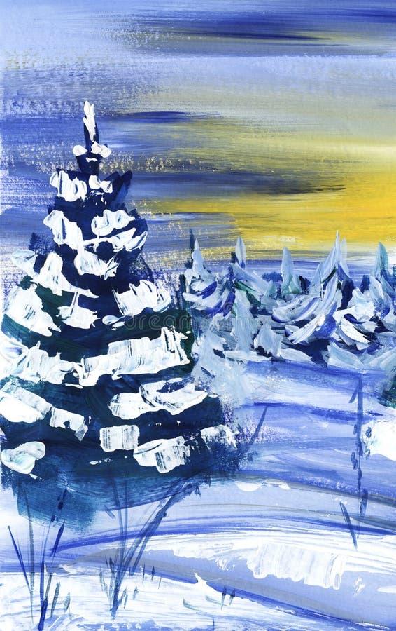 Träd för gran för vinterskog som frodiga täckas med snö mot bakgrunden av solnedgången Hand-dragit konstlandskap royaltyfri illustrationer