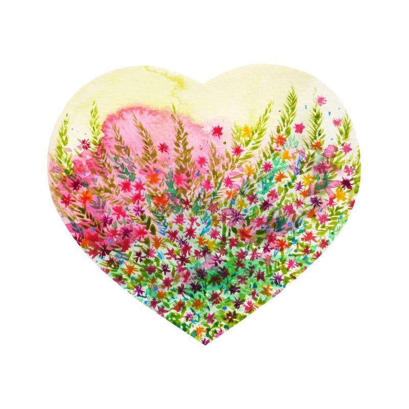 Träd för hjärtaformförälskelse för att gifta sig, valentindag, vattenfärg stock illustrationer