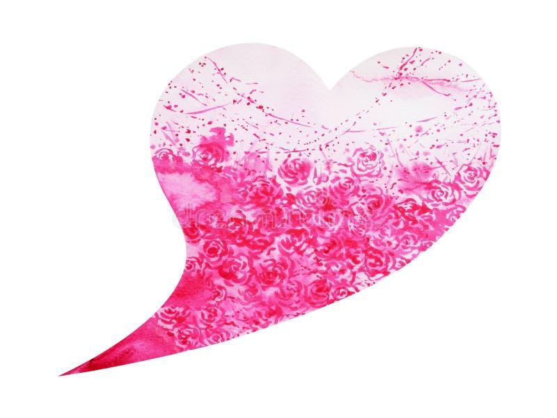 Träd för hjärtaformförälskelse för att gifta sig, valentindag, vattenfärgmålning royaltyfri illustrationer