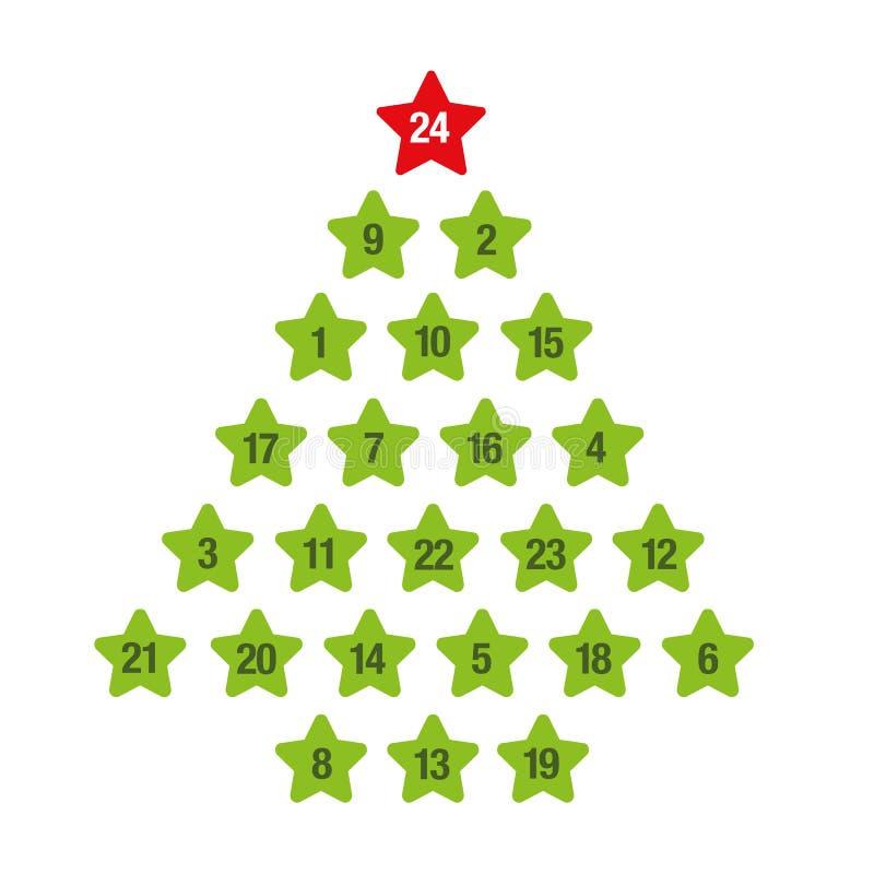 Träd för jul för Adventkalendergräsplan royaltyfri illustrationer