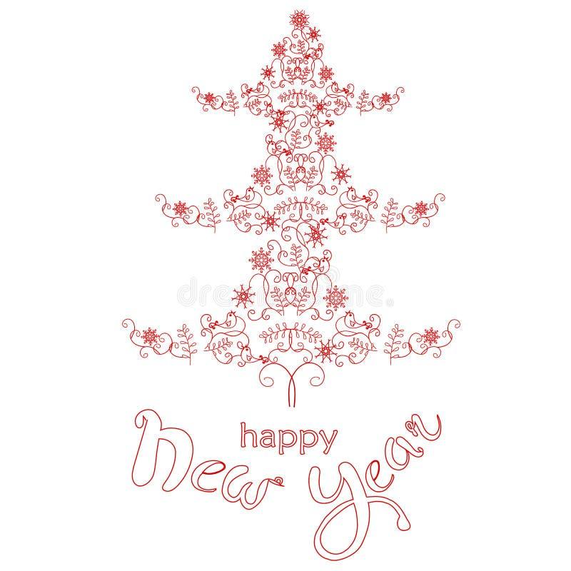 Träd för jul för typografibaner rött stiliserat, fåglar, snöflingor royaltyfri illustrationer