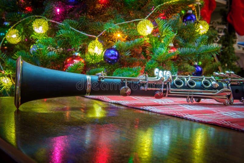 Träd för julmusikklarinett royaltyfri fotografi