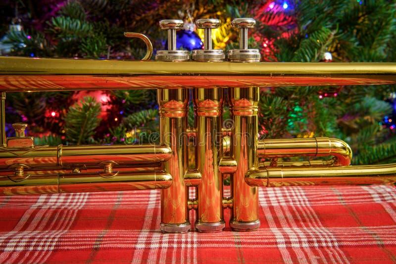 Träd för julmusiktrumpet royaltyfria bilder