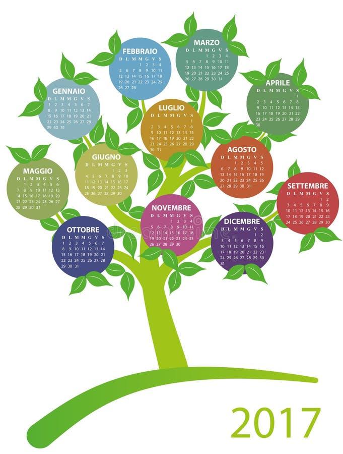 träd för 2017 kalender royaltyfri illustrationer
