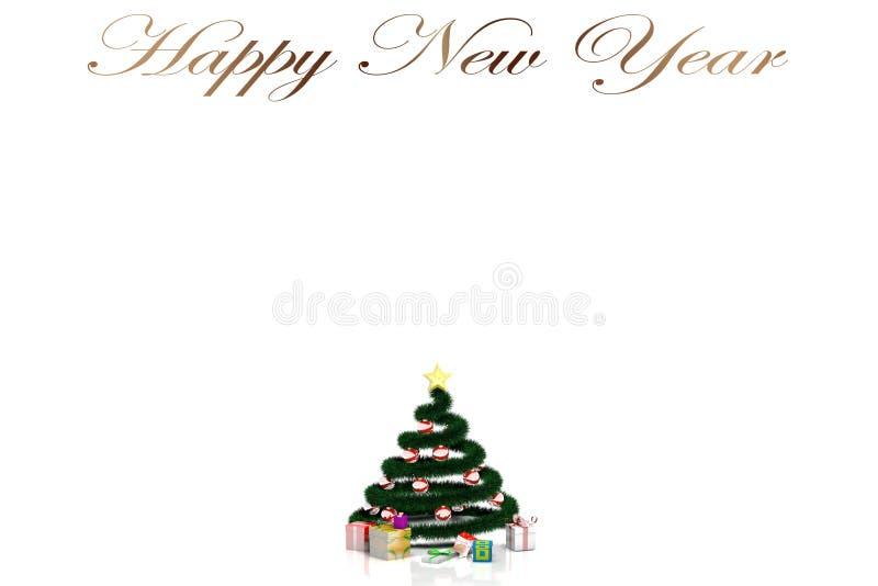 träd för nytt år 3D på en vit bakgrund och inskriften 'lyckligt nytt år ', stock illustrationer
