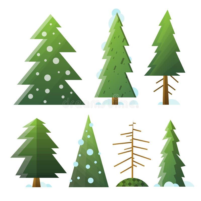 Träd för olik tecknad film för samling gröna och döda gran royaltyfri illustrationer