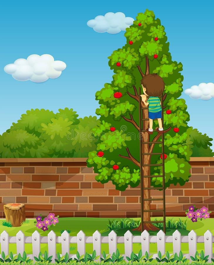 Träd för pojkeklättringäpple stock illustrationer