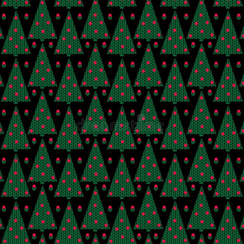 Träd för rät maskatexturjul på svart bakgrund stock illustrationer