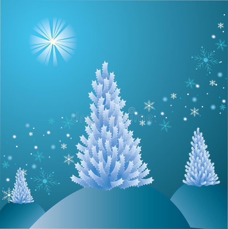 Träd för vit jul vektor illustrationer