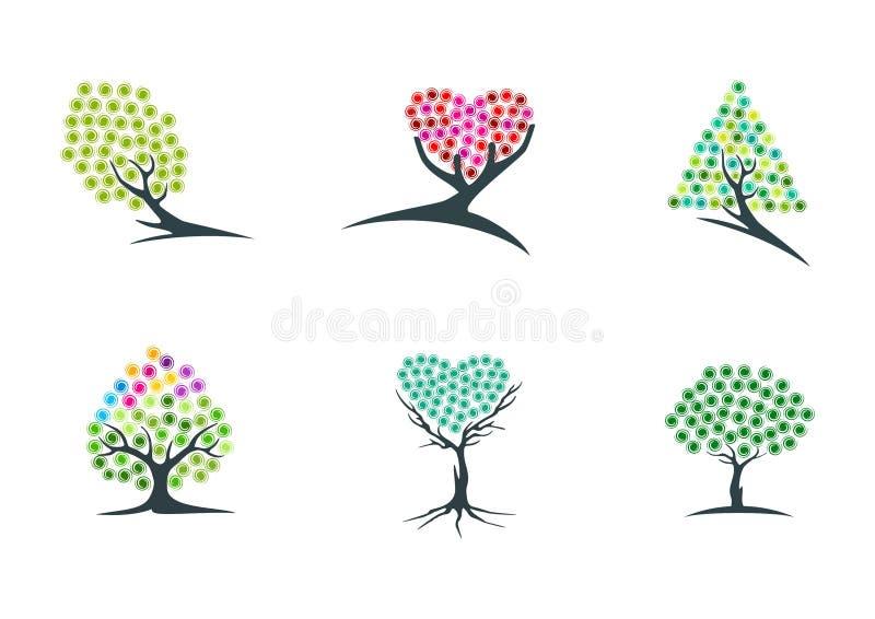 Träd, fantasi, logo, dröm, växt, symbol, gräsplan, hjärta, hopp, symbol och hypnotherapy vektordesign för natur stock illustrationer