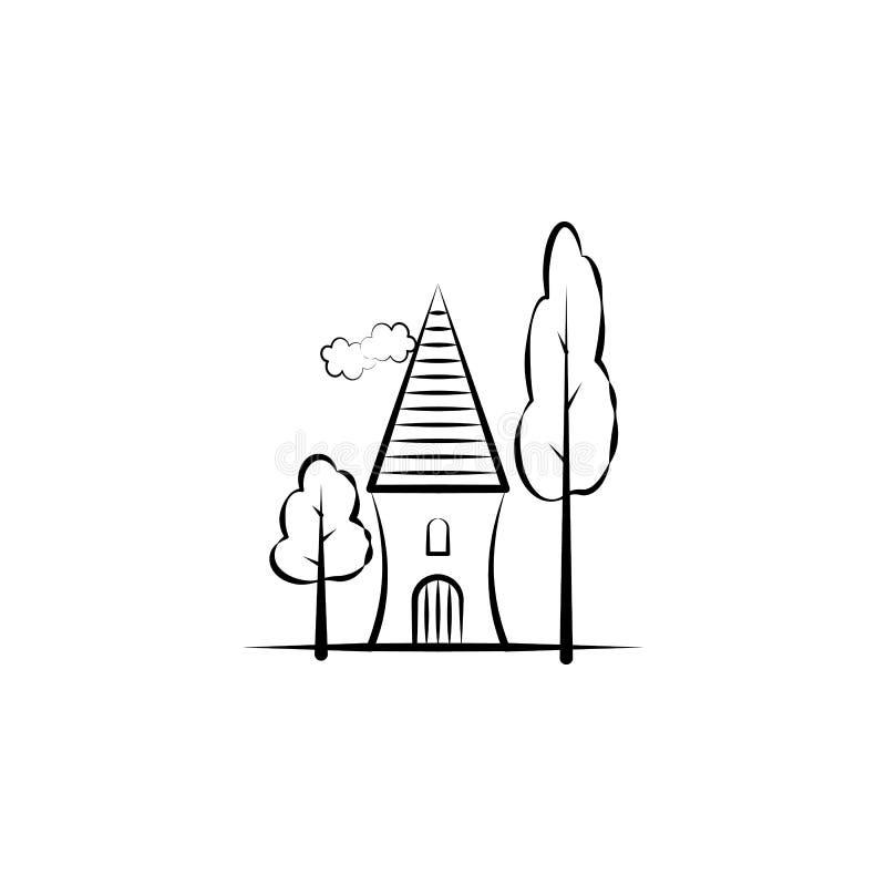 Träd hem- symbol Beståndsdel av den utdragna imaginära hussymbolen för hand för mobila begrepps- och rengöringsdukapps Kan det ut stock illustrationer