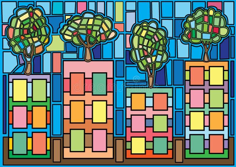 Tr?d i den stadsmoses m?lat glass stock illustrationer