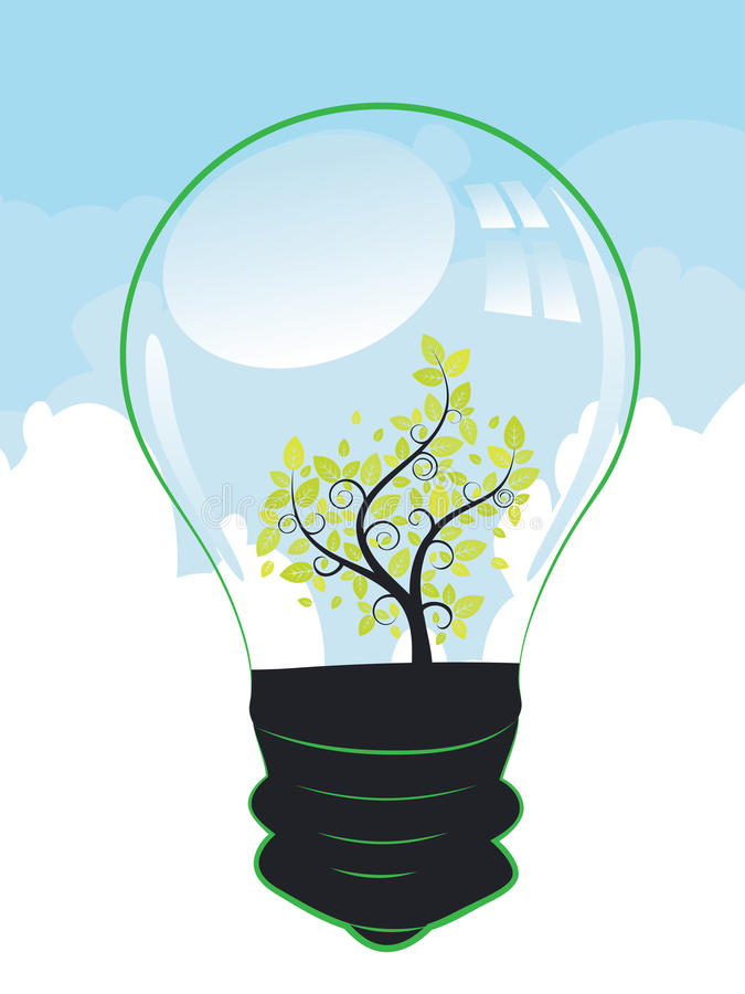 Träd i en lightbulb stock illustrationer