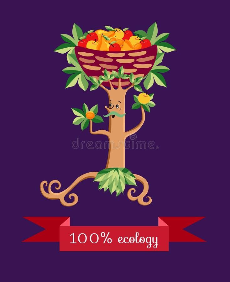 Träd i form av en stiliserad mustachioed man med en korg av frukt på hans huvud stock illustrationer